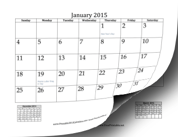 Printable 2015 Mini Month Calendar