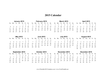 2015 Calendar on one page (horizontal) Calendar