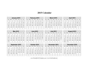 2015 Calendar on one page (horizontal grid) Calendar