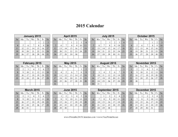 2015 Calendar on one page (horizontal, shaded weekends) Calendar