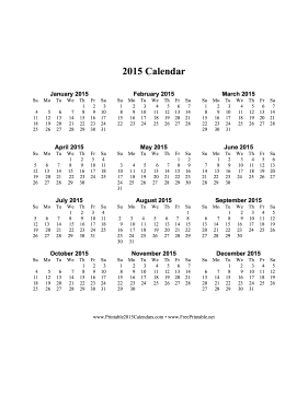 2015 Calendar on one page (vertical) Calendar