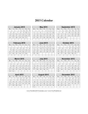 2015 Calendar on one page (vertical, week starts on Monday) Calendar
