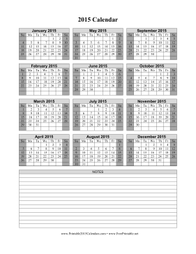 Printable 2015 Calendar on one page (vertical, shaded weekends, notes)