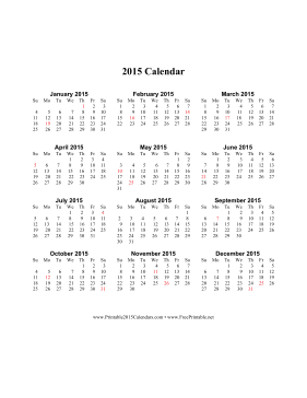 2015 Calendar on one page (vertical, holidays in red) Calendar