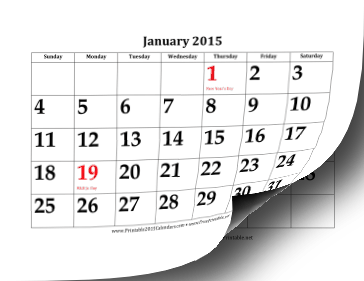 2015 Calendar with Large Dates Calendar