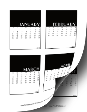 2015 Vertical Scrapbook Calendar Cards Calendar