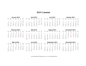 2015 Calendar (horizontal, descending, holidays in red) calendar