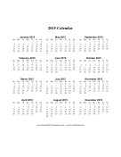 2015 Calendar (vertical, descending, holidays in red) calendar