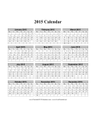 2015 Calendar on one page (vertical, months run across page, week starts on Monday) calendar